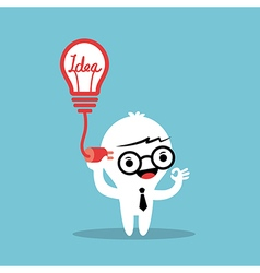 plugging light bulb with cable into the head vector image vector image