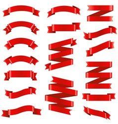 Red Ribbon Big Set vector image vector image