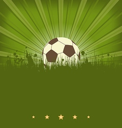 Vintage football card with ball in grass vector image vector image