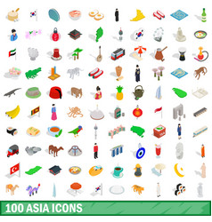 100 asia icons set isometric 3d style vector image