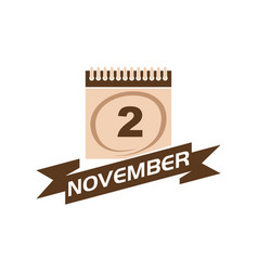 2 november calendar with ribbon vector