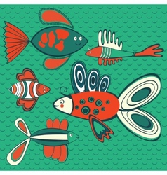 Abstract fish pattern vector