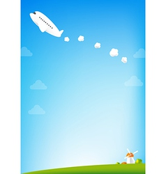 Airplane and blue Sky background vector