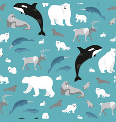 Arctic animals seamless repeating pattern vector