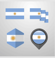 argentina flag design set vector image