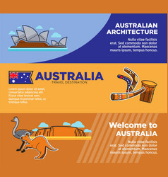 Australia travel destinations promotional posters vector