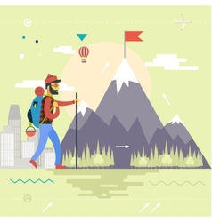 Backpack Hiking Mountain Climber Symbol Travel vector image