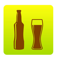 beer bottle sign brown icon at green vector image