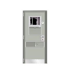 Behind the door imprisoned male modern gray door vector