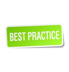Best practice green square sticker on white vector
