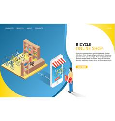 Bicycle online shop landing page website vector