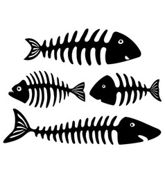 black and white art with fish bones vector image