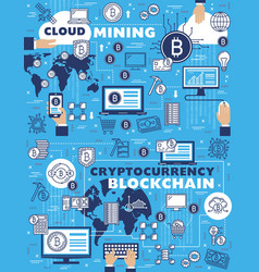blockchain cryptocurrency and cloud mining vector image