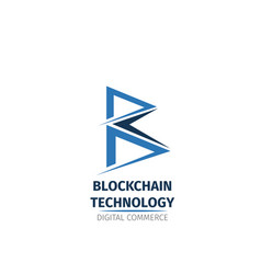 Blockchain technology letter b icon vector