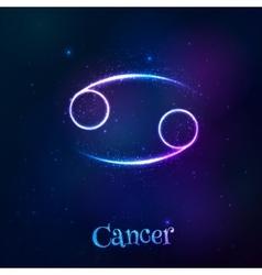 Blue shining cosmic neon zodiac Cancer symbol vector