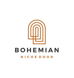boho niche door bohemian logo icon vector image