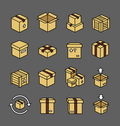 box colorful icons set logistics cardboard boxes vector image