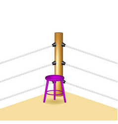 Boxing corner with purple wooden stool vector