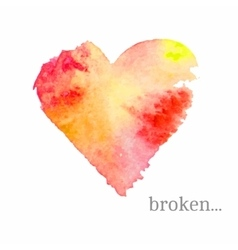 broken heart made of watercolor Handdrawn vector image