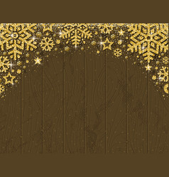 brown wooden christmas card with frame of golden vector image