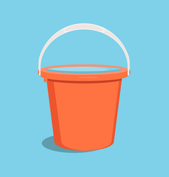 Bucket with water flat vector