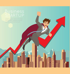 businessman superhero flying fast for business vector image