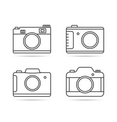 camera line icons vector image