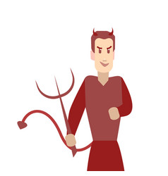 cartoon color character person devil on a white vector image