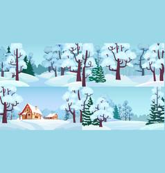 cartoon winter forest landscapes village in woods vector image