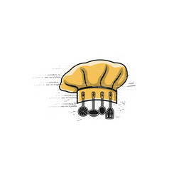 chef hat and kitchen tool design inspiration vector image