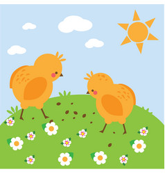 Chickens on meadow chikens on meadow simple vector