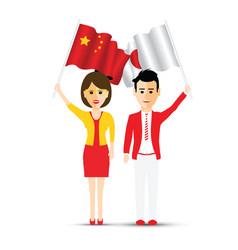 china and japan waving couple vector image