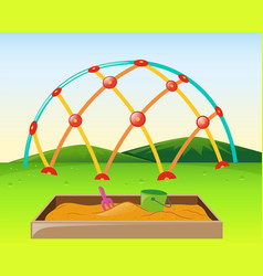 Climbing dome and sandpit in park vector