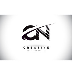 Cn c n letter logo design with swoosh and black vector