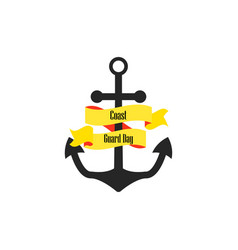 coast guard day anchor with ribbon vector image