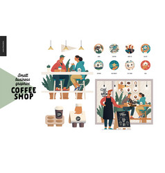 Coffee shop - small business graphics - set vector