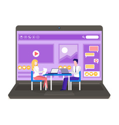 colleagues talk to each other on computer vector image