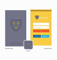 Company mask splash screen and login page design vector