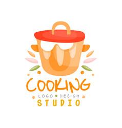 Cooking studio logo design kitchen emblem can be vector
