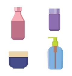 Cosmetic bottles color set Beauty shampoo vector