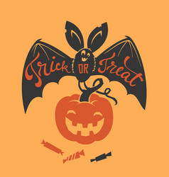 Creepy bat with trick or treat phrase hand written vector
