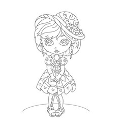 cute cartoon little girl coloring book vector image