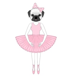 Cute french bulldog in dress like ballerina Hand vector