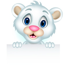 cute little polar bear holding blank sign vector image