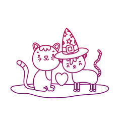 Degraded outline cute couple cat with hat and vector