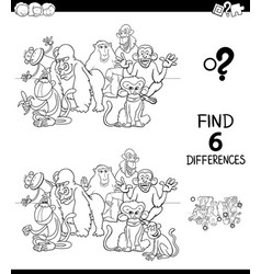 Differences color book with monkeys animal vector