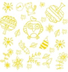 Doodle art for kids yellow vector