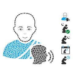 Dot collage buddhist confession vector