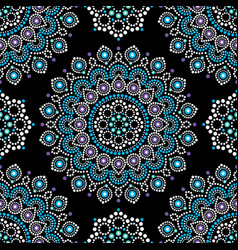 Dot painting seamless pattern with mandala vector