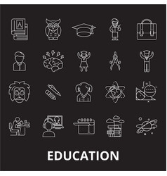 education editable line icons set on black vector image